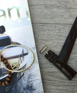 handcrafted crocodile brown strap