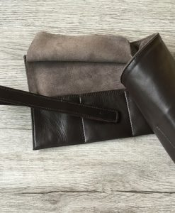 leather watch roll suede