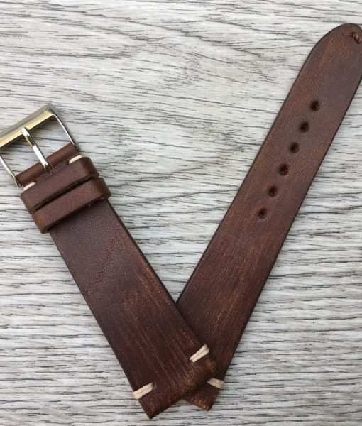 vintage scratched brown lether watch strap