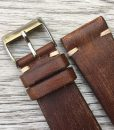 handmade brown leather watch strap