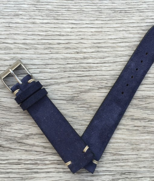 handcrafted suede blue leather strap