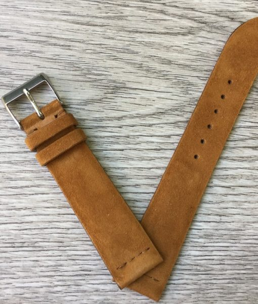 suede cachi leather watch strap