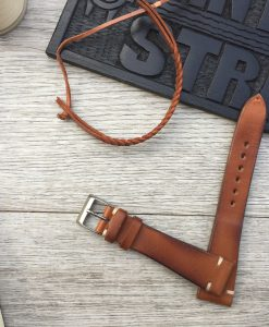 maded in italy mid tan leather watch strap
