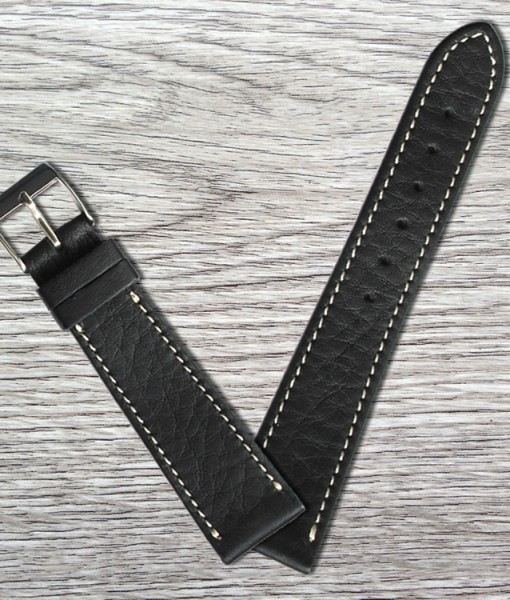 HERblack classic smooth leather strap