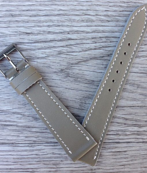 smooth elegant handcrafted leather strap grey