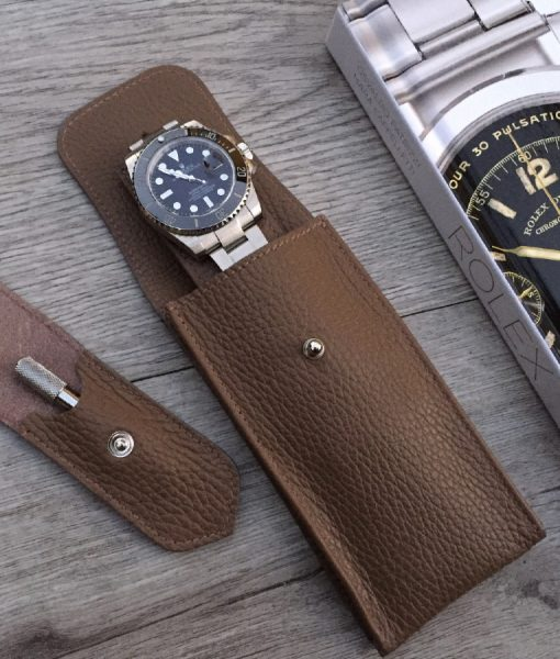 luxury single watch pouchette handcrafted
