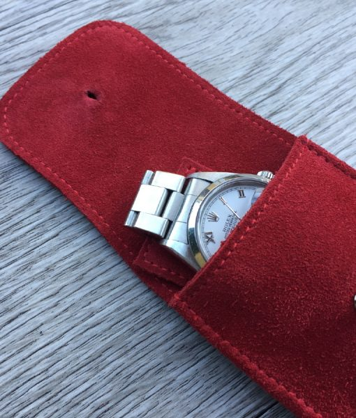 leather red watch pouchette